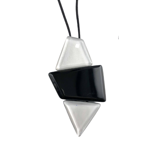 Zsiska Reflection Black and Silver Pendant Necklace