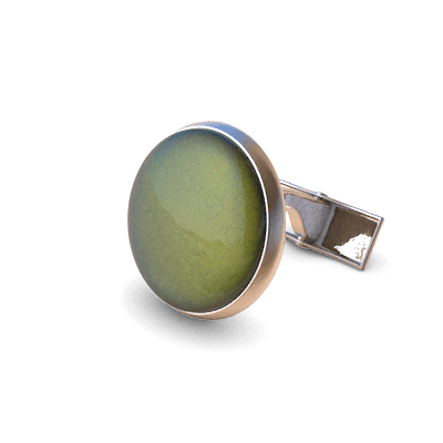 Analog Cufflinks Khaki Green Round Cufflinks on Silver Base
