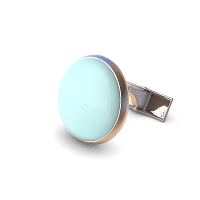Analog Cufflinks Pastel Turquoise Round Cufflinks on Silver Base-Analog Cufflinks-Temples and Markets