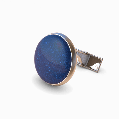 Analog Cufflinks Sparkly Blue Round Cufflinks on Silver Base-Analog Cufflinks-Temples and Markets