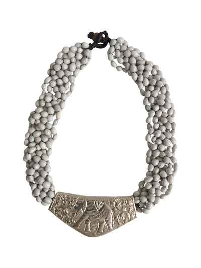Angkor Seed Choker on Leather Band with Silver Elephant Feature Pendant-Graines de Cambodge-Temples and Markets