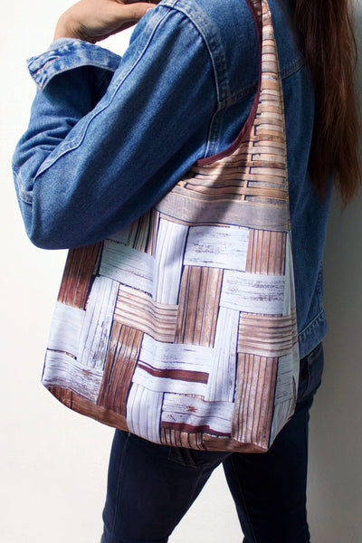Bamboo Wall Foldable Tote Bag-CUSHnART-Temples and Markets
