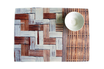 Bamboo Wall Water Resistant Placemats - Set of 4-CUSHnART-Temples and Markets