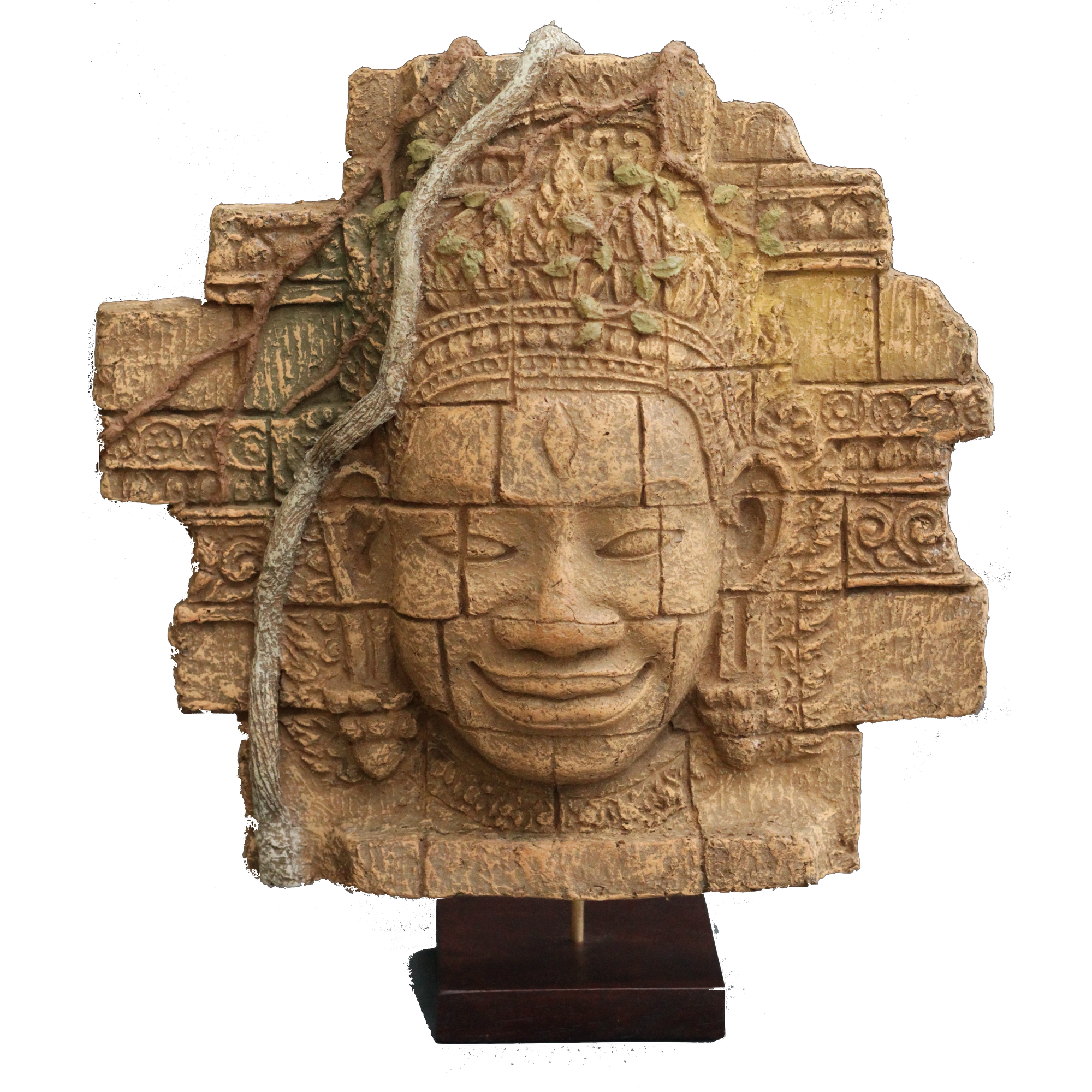 Bayon Head of Angkor Thom on Stand - made in papier mâché-Jayav Art-Temples and Markets