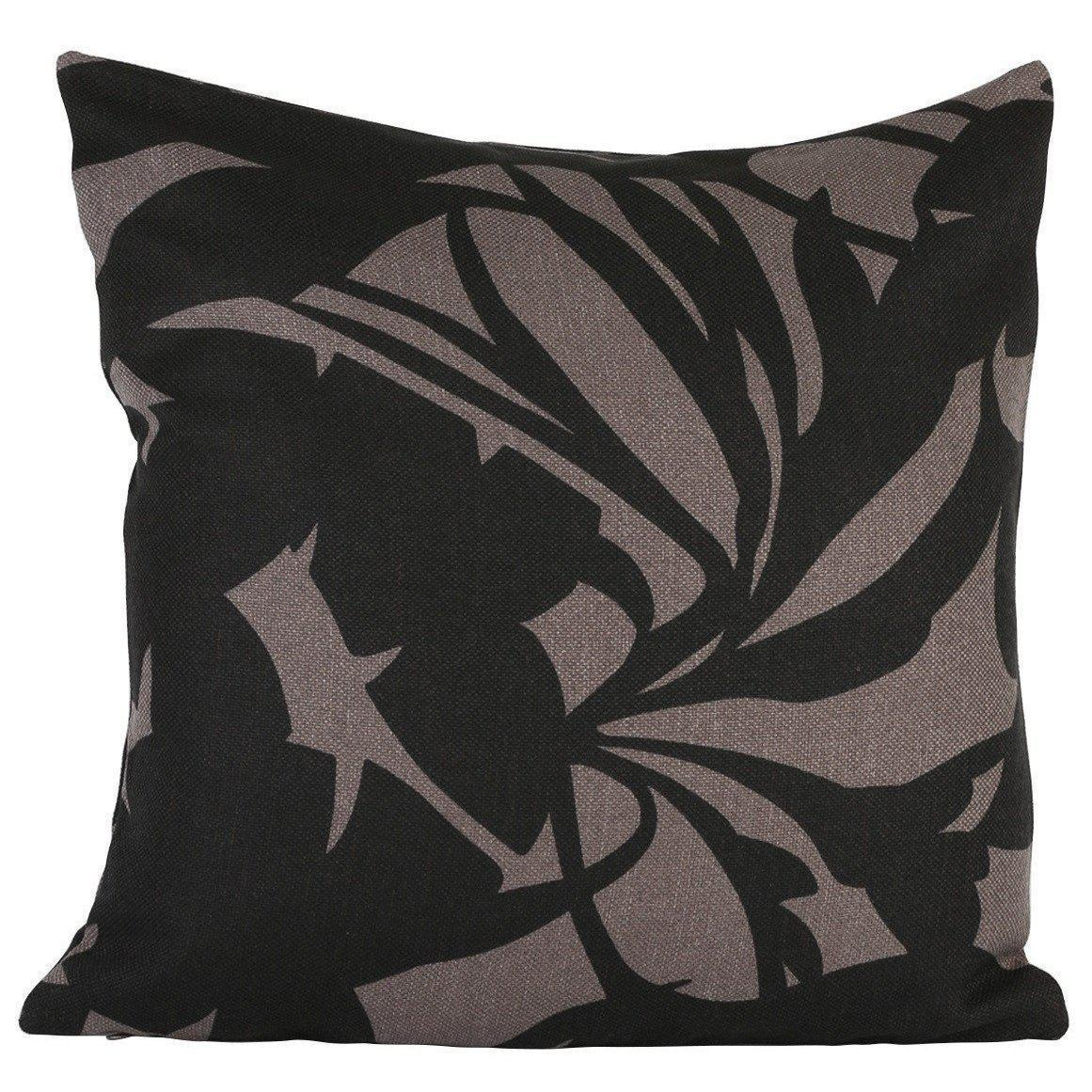 Black and Grey Leaves Cushion Cover-ML Living-Temples and Markets
