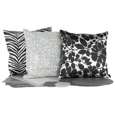 Black and Silver Cushion Cover-ML Living-Temples and Markets