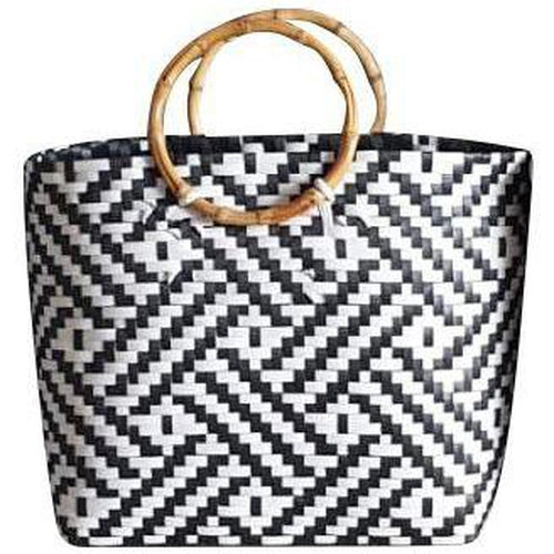 Black and White Handwoven Basket Bag with Round Wooden Handles-Helping Hands Penan-Temples and Markets