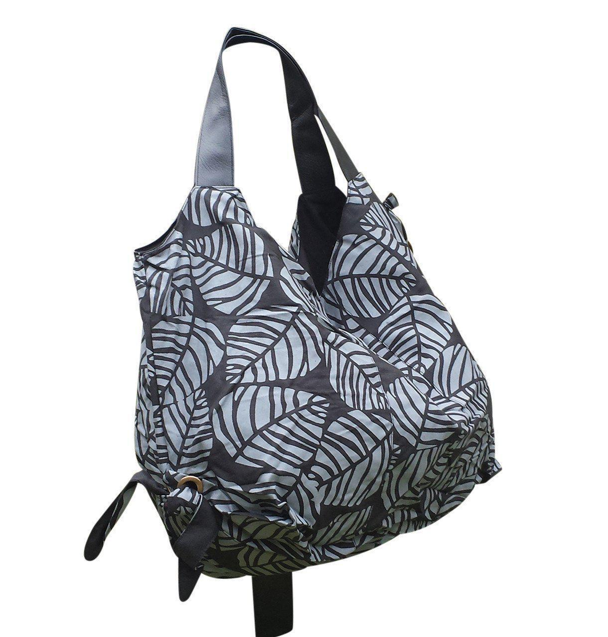 Black Shoulder Bag with Leaf Design-Khmer Creations-Temples and Markets