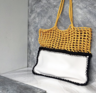 Black, White and Yellow Crochet and Neoprene Bag-Merrymetric Bags-Temples and Markets