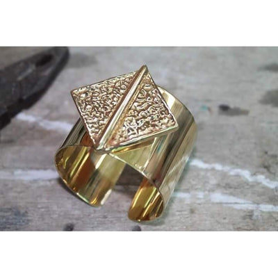 Chunky Brass Cuff - Diamond Shape on Circle-Angkor Bullet Jewellery Cambodia-Temples and Markets