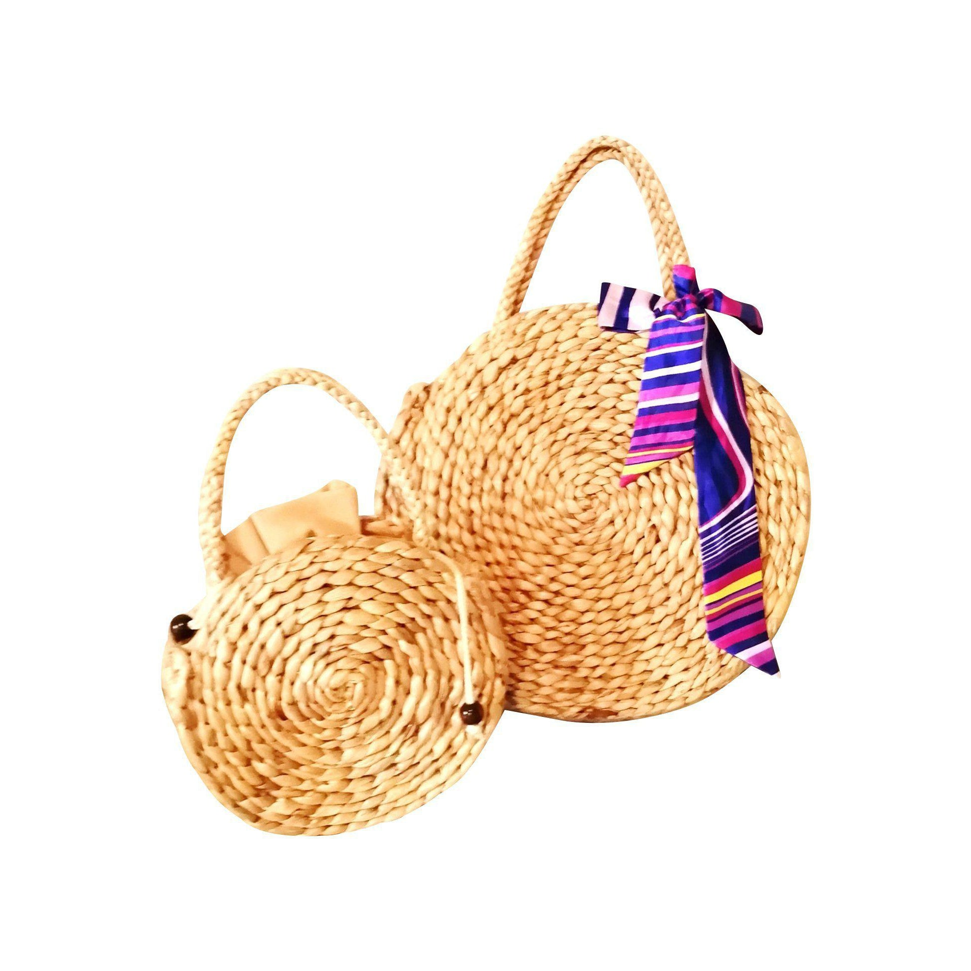 Circle Straw Basket Hand Bag-Bluestone-Temples and Markets