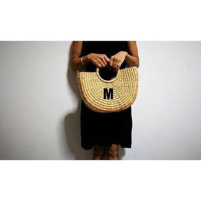 Classic Half Moon Basket Bag made from sustainable Water hyacinth-Bluestone-Temples and Markets