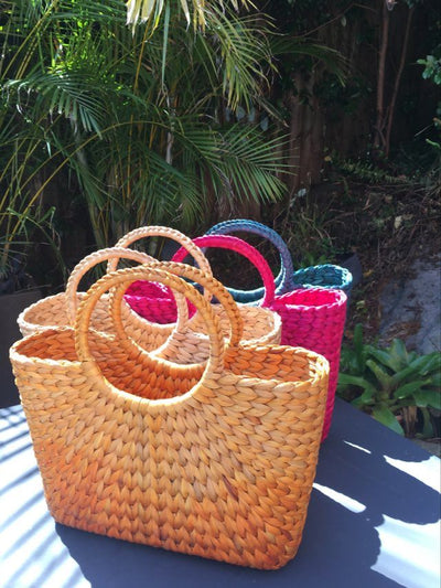 Rokhak Water Hyacinth handwoven Teal Blue Shopping Basket Bag