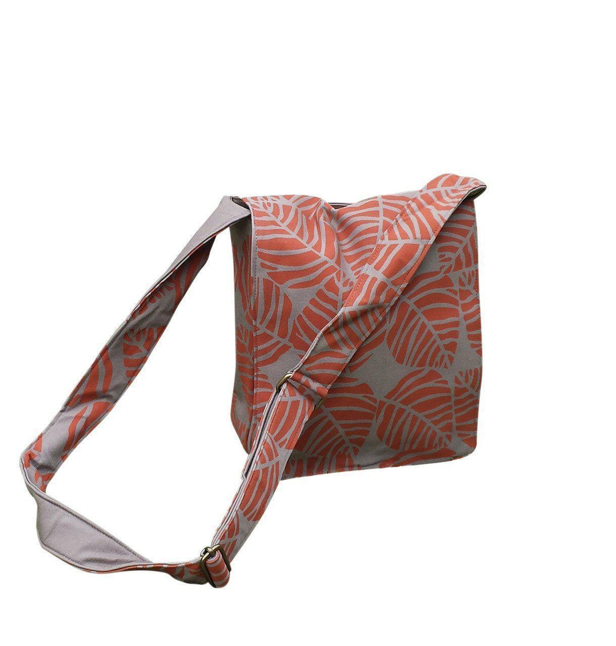 Cotton Flap Over Bag with Leaf Design-Khmer Creations-Temples and Markets