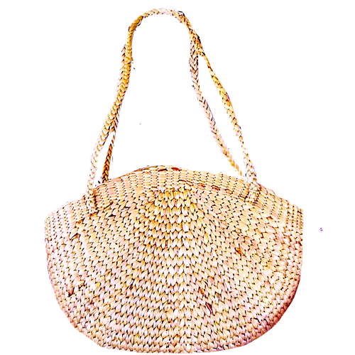 Curved Shaped Handwoven Basket Shoulder Bag-Bags-Bluestone-Temples and Markets