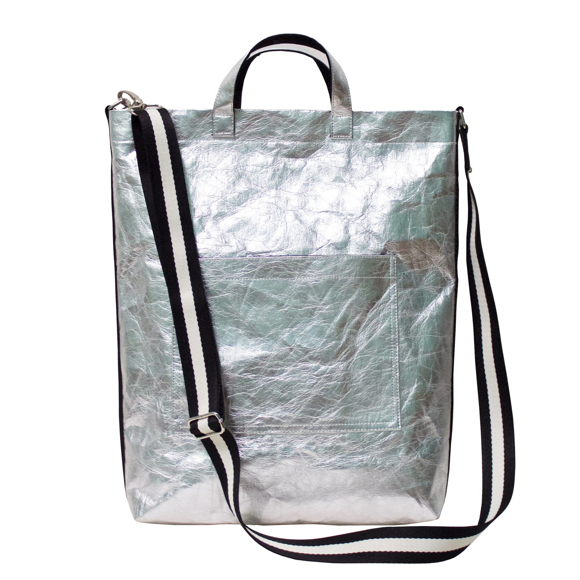 Demeter Silver Shoulder / Cross Body Bag made from Metallic Washable Paper-Kaban-Temples and Markets
