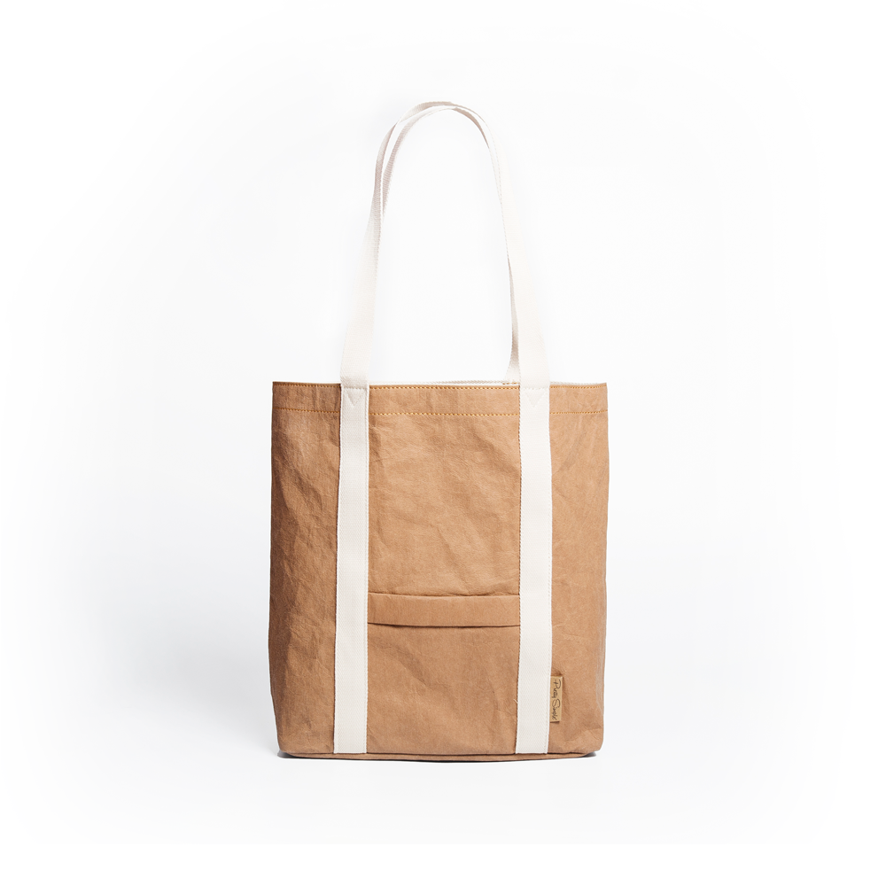 Ella Dark Camel Tote Bag made from Washable Paper, an eco-friendly alternative to leather