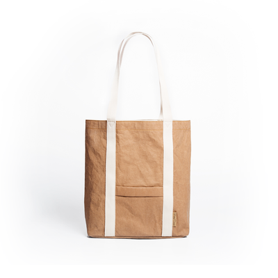 Ella Dark Camel Tote Bag made from Washable Paper, an eco-friendly alternative to leather-Bags-Pretty Simple Bags-Temples and Markets
