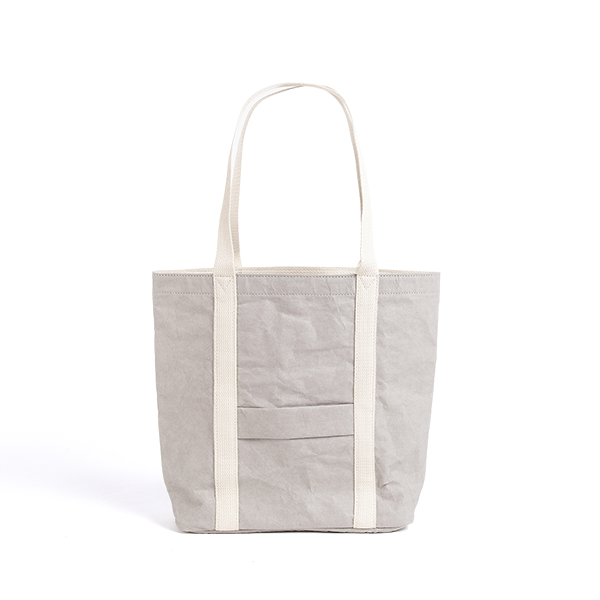 Ella Grey Tote Bag made from Washable Paper, an eco-friendly alternative to leather