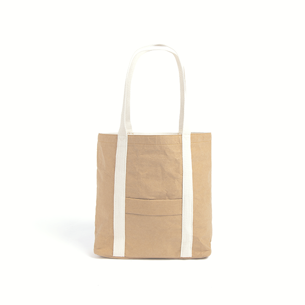 Ella Light Camel Tote Bag made from Washable Paper, an eco-friendly alternative to leather-Pretty Simple Bags-Temples and Markets