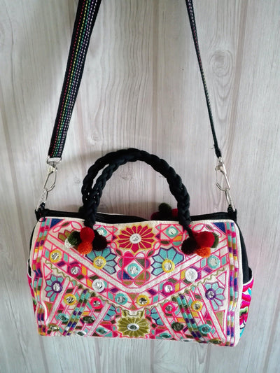 Embroidered Tribal Style Barrel Shaped Handbag-Malee Bags-Temples and Markets