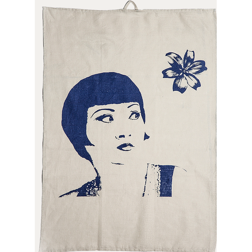 Eugenie Darge Linen and Blue Portrait Tea Towel