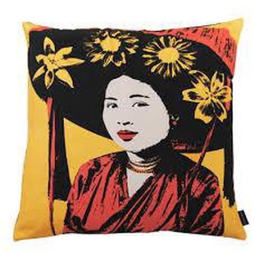 Eugenie Darge Miss Anh Portrait Cushion on Yellow Background