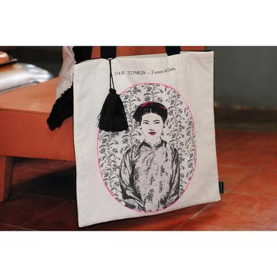 Eugenie Darge Miss Dung White Portrait Tote Bag-EUGENIE DARGE-Temples and Markets