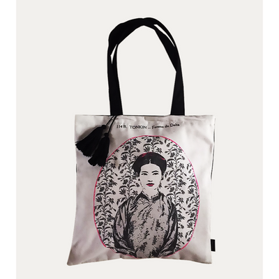 Eugenie Darge Miss Dung White Portrait Tote Bag-Bags-EUGENIE DARGE-Temples and Markets