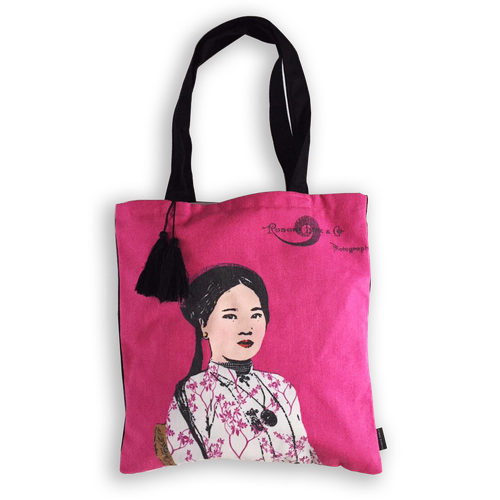 Eugenie Darge Miss Hong Pink Portrait Tote Bag