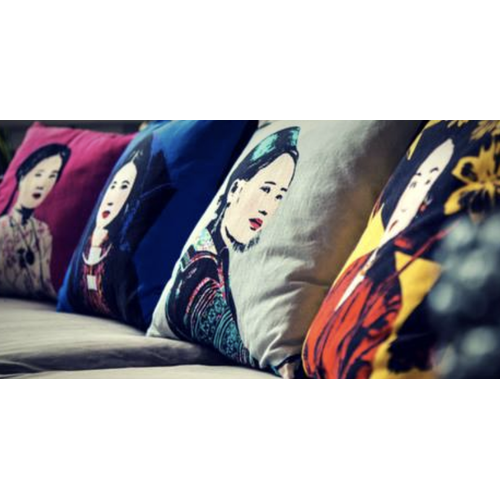 Eugenie Darge Miss Hue Red Portrait Cushion-EUGENIE DARGE-Temples and Markets