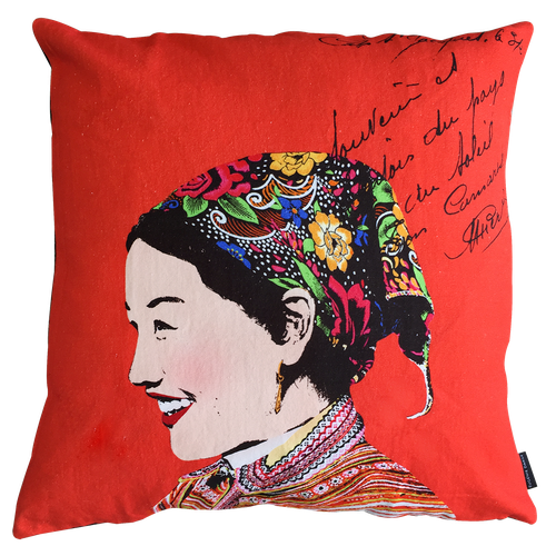 Eugenie Darge Miss Hue Red Portrait Cushion-Cushion Covers-EUGENIE DARGE-Temples and Markets