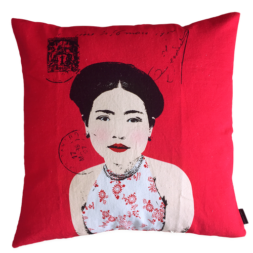 Eugenie Darge Miss Kieu Deep Pink Portrait Cushion
