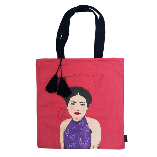 Eugenie Darge Miss Kieu Deep Pink Portrait Tote Bag-Bags-EUGENIE DARGE-Temples and Markets