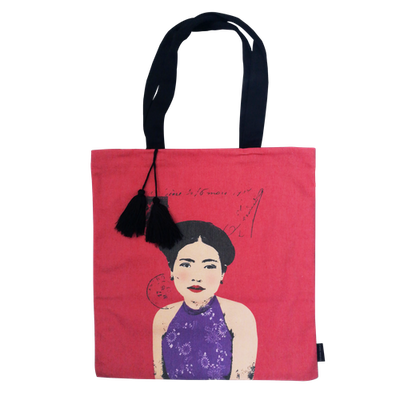 Eugenie Darge Miss Kieu Deep Pink Portrait Tote Bag-EUGENIE DARGE-Temples and Markets