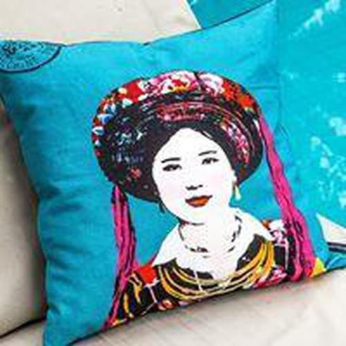 Eugenie Darge Miss Kim Turquoise Blue Portrait Cushion-EUGENIE DARGE-Temples and Markets