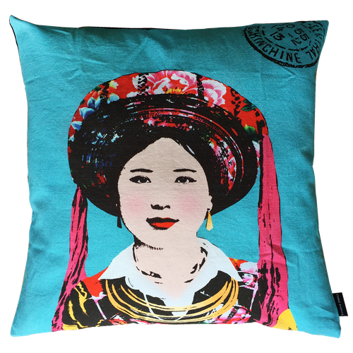 Eugenie Darge Miss Kim Turquoise Blue Portrait Cushion-Cushion Covers-EUGENIE DARGE-Temples and Markets