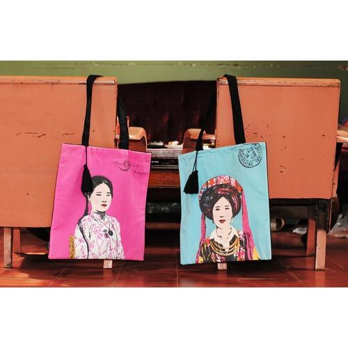 Eugenie Darge Miss Kim Turquoise Portrait Tote Bag-EUGENIE DARGE-Temples and Markets