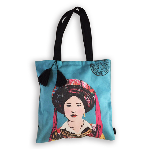 Eugenie Darge Miss Kim Turquoise Portrait Tote Bag-Bags-EUGENIE DARGE-Temples and Markets