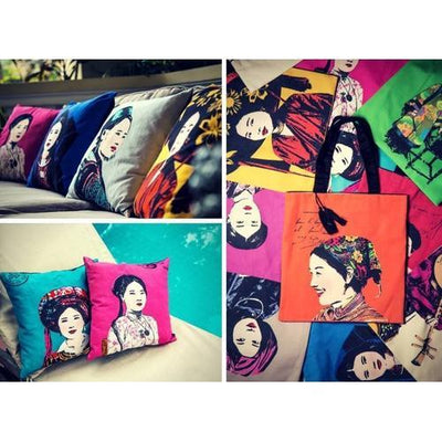 Eugenie Darge Miss Mong Portrait Cushion-EUGENIE DARGE-Temples and Markets