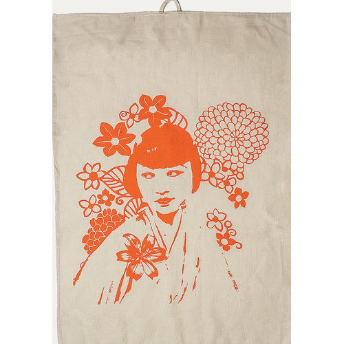Eugenie Darge Printed Linen and Orange Portrait Tea Towel-EUGENIE DARGE-Temples and Markets