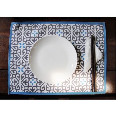 Eugenie Darge Vintage Tile Printed Placemats-EUGENIE DARGE-Temples and Markets