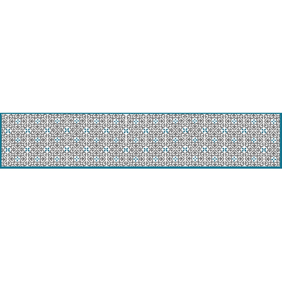 Eugenie Darge Vintage Tile Printed Table Runner-Home Decor-EUGENIE DARGE-Turquoise-Temples and Markets