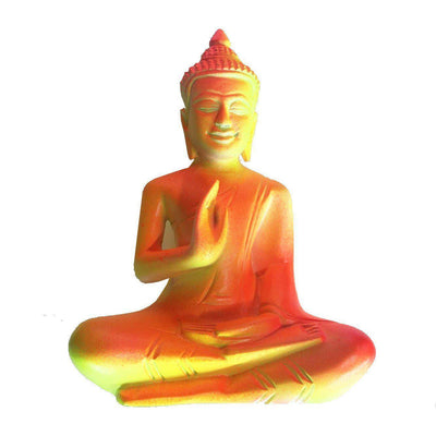 Fluro Mango Wood Seated Buddha in Protection Mudra-WA Gallery-Temples and Markets