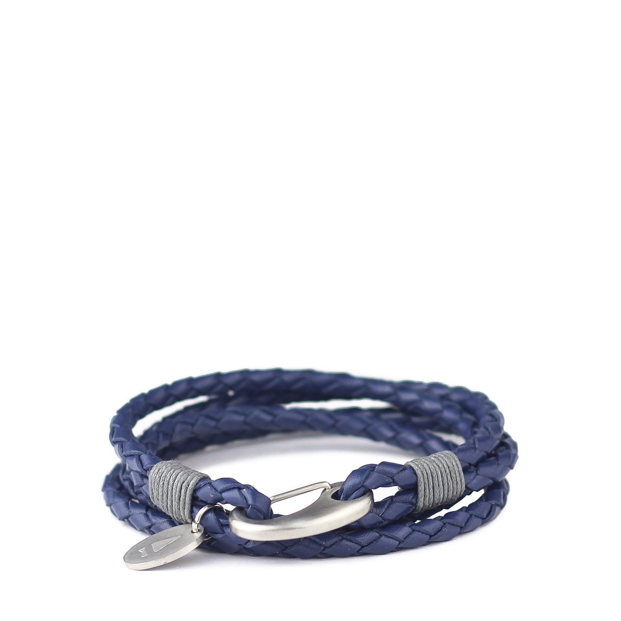 Gnome and Bow Ralph Multi-Wrap Blue Men's Leather Bracelet-Gnome & Bow-Temples and Markets