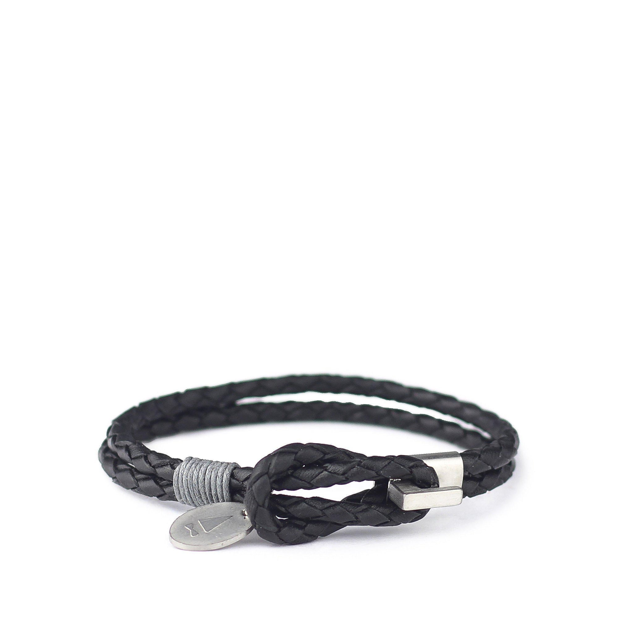 Gnome and Bow Smith Multi-Wrap Black Leather Bracelet