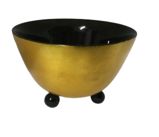 Lacquered Bowl with 3 legs - Gold and Black