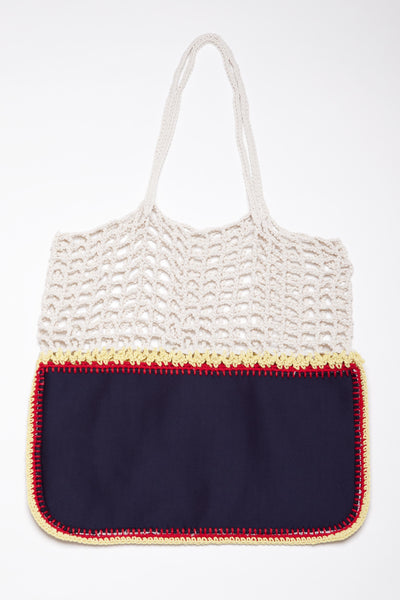 Gradie Black and White Crochet and Neoprene Bag-Merrymetric Bags-Temples and Markets