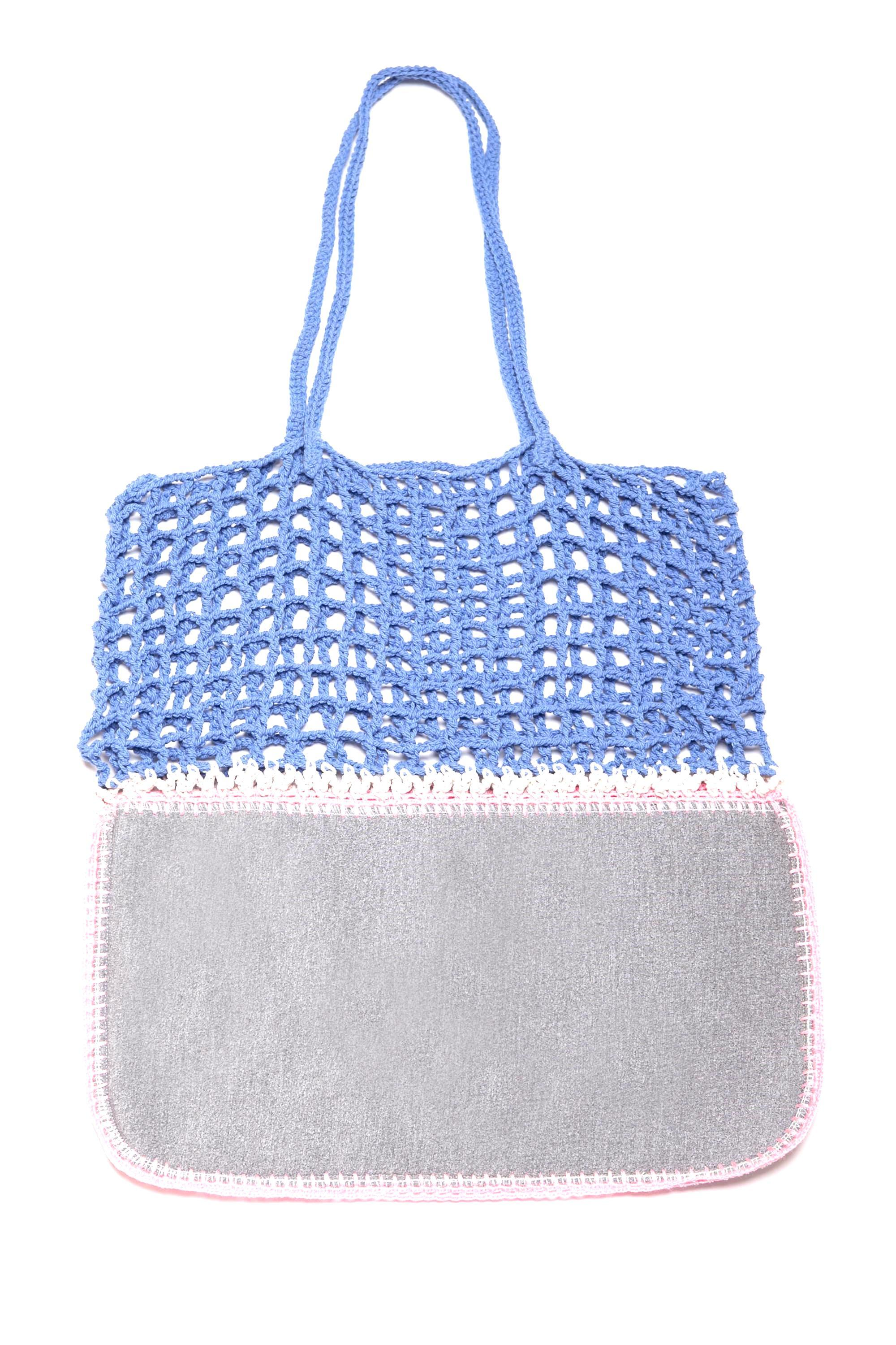 Gradie Grey and Blue Crochet and Neoprene Bag-Merrymetric Bags-Temples and Markets