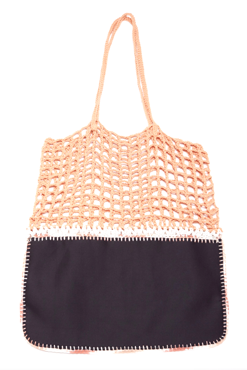 Gradie Orange and Black Crochet and Neoprene Bag-Merrymetric Bags-Temples and Markets